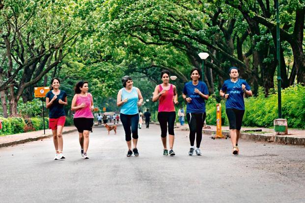 Naina Lal (third from left) with other members of Runner Girls India. Photo: Aniruddha Chowdhury/Mint